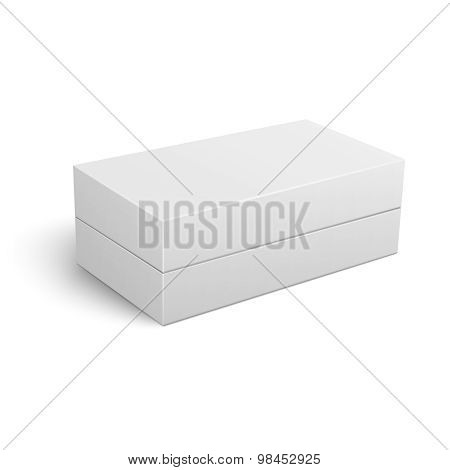 Template of white closed cardboard box.