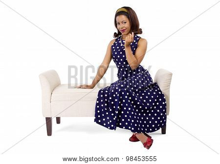 Woman in Blue Polka Dot Dress
