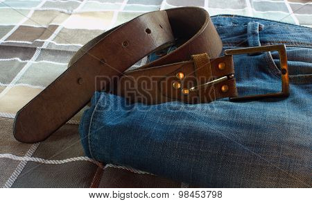 Blue Jeans And Brown Belt