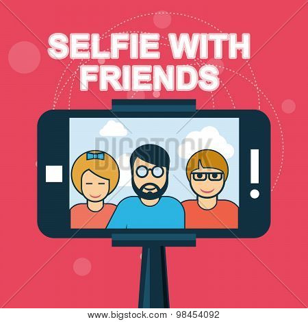 Selfie with friends - smartphone on selfie stick