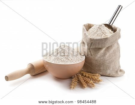 Kitchen Utensils, Ears, Flour In A Bowl And Bag Isolated