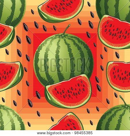 seamless pattern of ripe watermelon