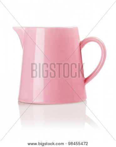 Small Porcelain Pitcher on White Background