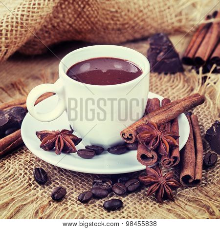 Hot Chocolate, Chocolate Chips, Cinnamon And Star Anise. Vintage Hipster Version.