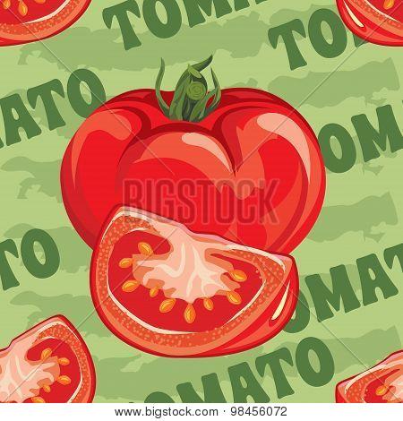 seamless pattern of ripe red tomato