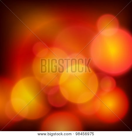 Red Background Glowing Balls Blur Effect Holiday