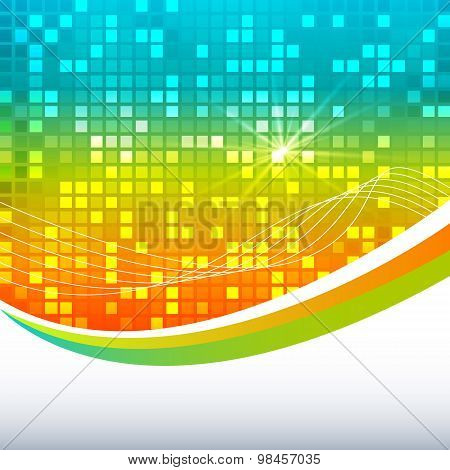 Template Label Bright Glowing Mosaic Squares Background