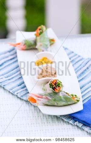 Vietnamese Spring Rolls With Vegetables And Coriander On A Plate