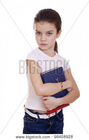 Young beautiful schoolgirl holds textbooks, isolated on a white background