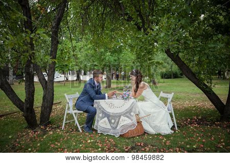 wedding in apple orchard