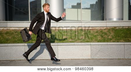 Businessman in hurry