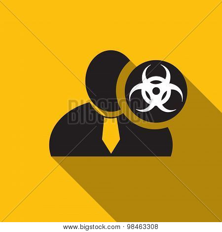 Biohazard Black Man Silhouette Icon On The Yellow Background, Long Shadow Flat Design Icon For Forum
