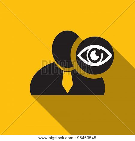 Eye Black Man Silhouette Icon On The Yellow Background, Long Shadow Flat Design Icon For Forums Or W