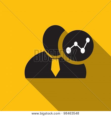 Chart Black Man Silhouette Icon On The Yellow Background, Long Shadow Flat Design Icon For Forums Or