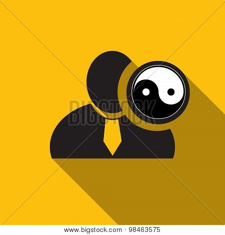 Yin Yang Black Man Silhouette Icon On The Yellow Background, Long Shadow Flat Design Icon For Forums