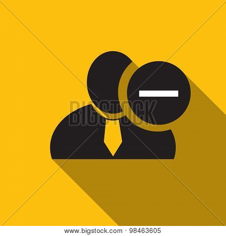 Minus Sign Black Man Silhouette Icon On The Yellow Background, Long Shadow Flat Design Icon For Foru
