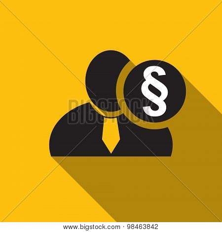 Section Or Paragraph Sign Black Man Silhouette Icon On The Yellow Background, Long Shadow Flat Desig