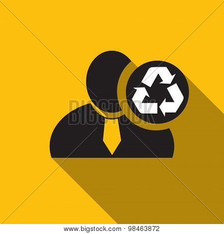 Recycle Black Man Silhouette Icon On The Yellow Background, Long Shadow Flat Design Icon For Forums