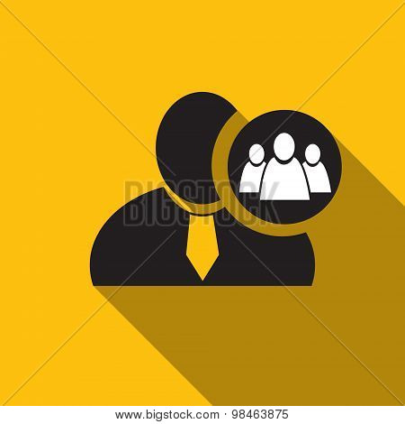 Referral Or Group Black Man Silhouette Icon On The Yellow Background, Long Shadow Flat Design Icon F