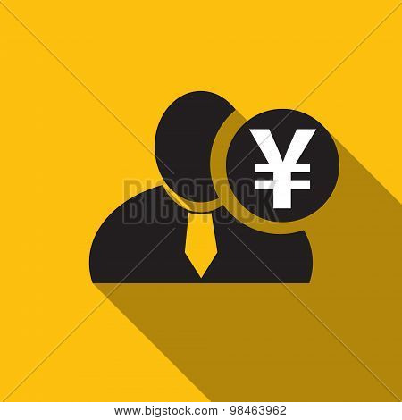 Japanese Yen Black Man Silhouette Icon On The Yellow Background, Long Shadow Flat Design Icon For Fo