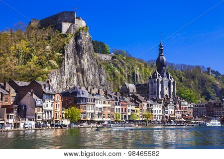 beautiful Dinant at the river Meuse in Belgium