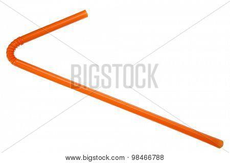 Orange straw on white background