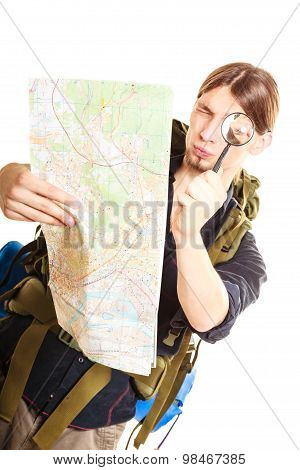 Man Tourist Reading Map With Magnifying Glass.
