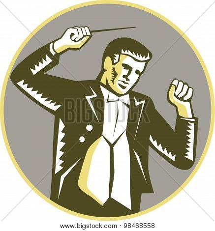 Conductor Waving Baton Circle Woodcut