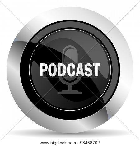 podcast icon, black chrome button