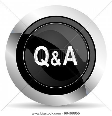 question answer icon, black chrome button