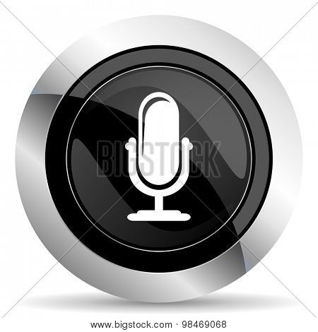 microphone icon, black chrome button, podcast sign