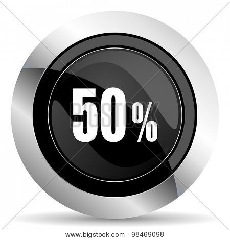 50 percent icon, black chrome button, sale sign