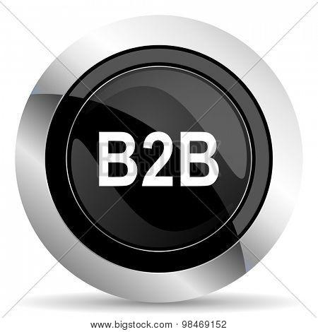 b2b icon, black chrome button