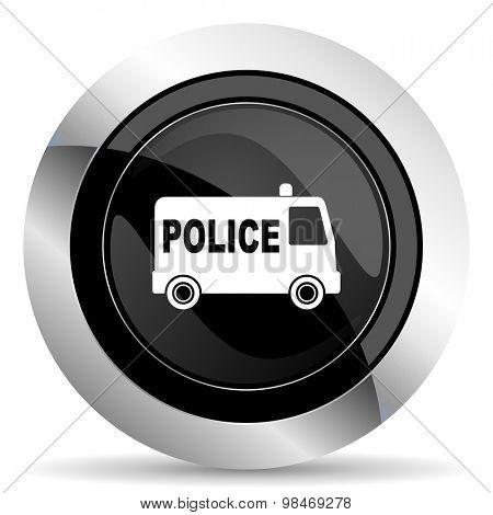 police icon, black chrome button