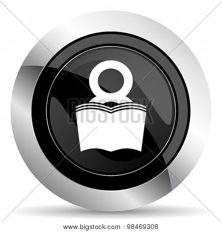 book icon, black chrome button, reading room sign, bookshop symbol