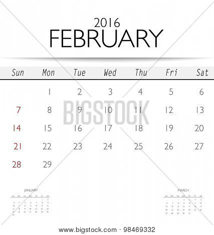 2016 calendar, monthly calendar template for February. Vector illustration.