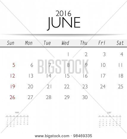 2016 calendar, monthly calendar template for June. Vector illustration.