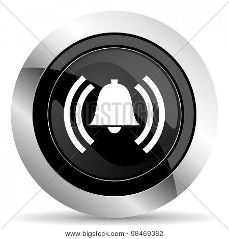 alarm icon, black chrome button, alert sign, bell symbol