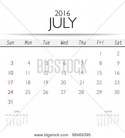 2016 calendar, monthly calendar template for July. Vector illustration.