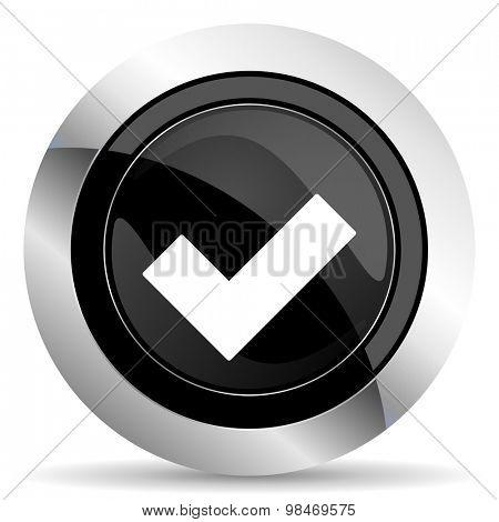 accept icon, black chrome button, check sign
