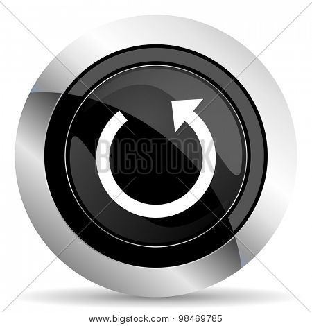 rotate icon, black chrome button, reload sign