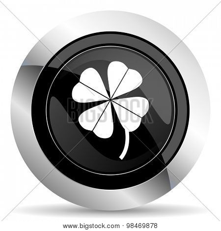four-leaf clover icon, black chrome button