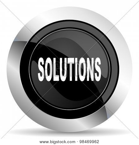 solutions icon, black chrome button