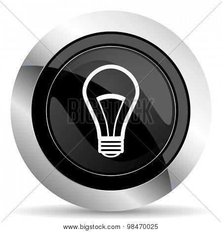bulb icon, black chrome button, light bulb sign