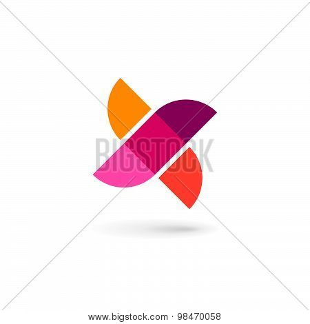 Letter X Bird Mosaic Logo Icon Design Template Elements