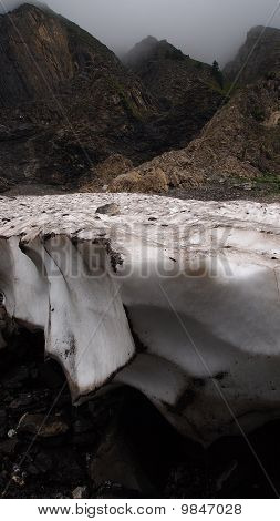Vertical View Of Glaciers In The French Mountains With Black Cavity Bellow, Aravis Pass, France, The