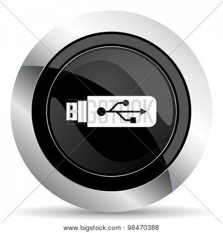 usb icon, black chrome button, flash memory sign