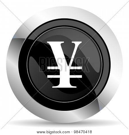 yen icon, black chrome button