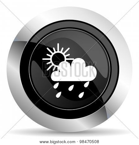 rain icon, black chrome button, waether forecast sign