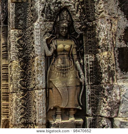 detail of stone carvings in angkor wat,cambodia.